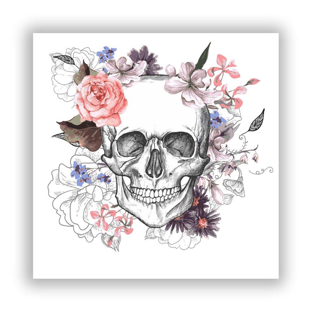 2/x Pegatinas de vinilo de calavera con flores Scary Horror Halloween espeluznante # 7685