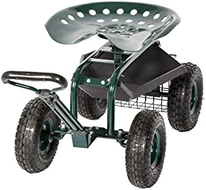 KINTNESS Rolling Garden Stool Cart Work Seat Heavy Duty Wagon Scooter with Extendable Steer Handle Swivel Seat & Utility Basket