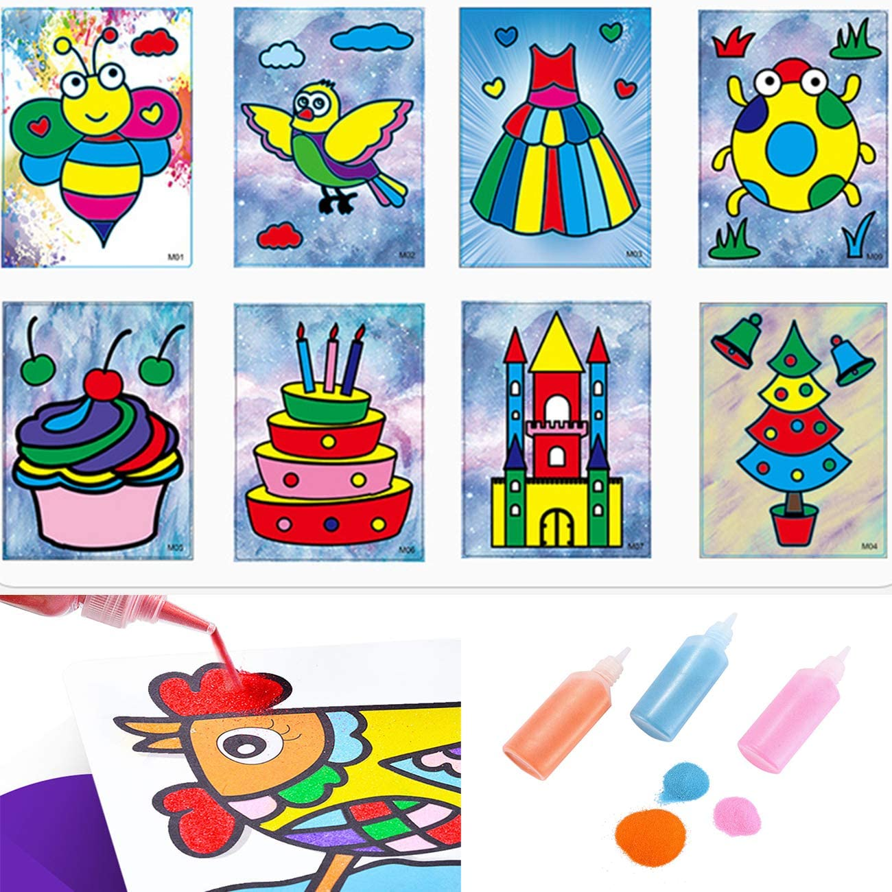 Fottaqqan 12 Pack Art Sand Kit Scenic Sand,DIY Arts and Crafts for Kids,Colored Terrarium Sand for Wedding Decor,Painting,Children