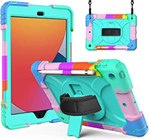 iPad 10.2 Case for Kids | SIBEITU iPad 8th/7th Generation Case with Pencil Holder | Heavy Duty Shockproof Protective Cover w/Stand Hand&Shoulder Strap for iPad 2020/2019 10.2 Inch Turquoise