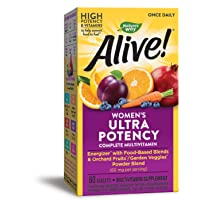Nature's Way Alive! Once Daily Women's Multivitamin, Ultra Potency, Food-Based Blends (60mg per serving), 60 Tablets