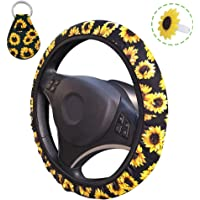 Sunflower Steering Wheel Cover, AFUNTA Cute and Universal Steering Wheel Cover & Keychain & Air Freshener Holder for…