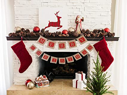 amazon com merry christmas banners happy year bunting garlands