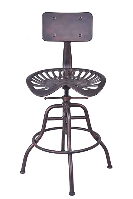 Tremendous Lokkhan Cast Iron Tractor Seat Bar Stool With Backrest Adjustable Swivel Industrial Metal Design Vintage Bar Stool Kitchen Counter Height 26 4 Inch Lamtechconsult Wood Chair Design Ideas Lamtechconsultcom