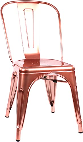 Design Lab MN Dreux Restaurant Stackable Steel Side Chair Set of 4 , Metallic Rose Gold