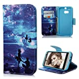 HTC One M8 Case Cover - Lanveni PU Leather Wallet Flip Cover Bookstyle Cell Phone Hoslter with Printing Design & Magnetic Closure & Card Slots & Stand Function Protective Cover for HTC One M8 , Pattern-4