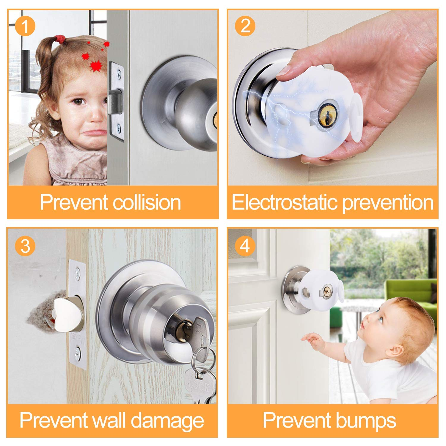 Tgzme 2 Pack Door Lever Lock Child Satety Baby Proofing Door Safety Cover with 3M Adhesive