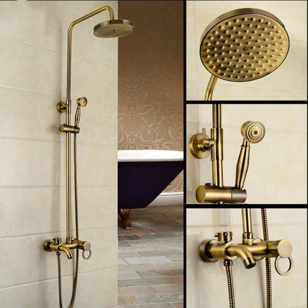TOU  Drawing Copper Shower Shower Antique Bathing Set Stainless Steel Shower Set,B