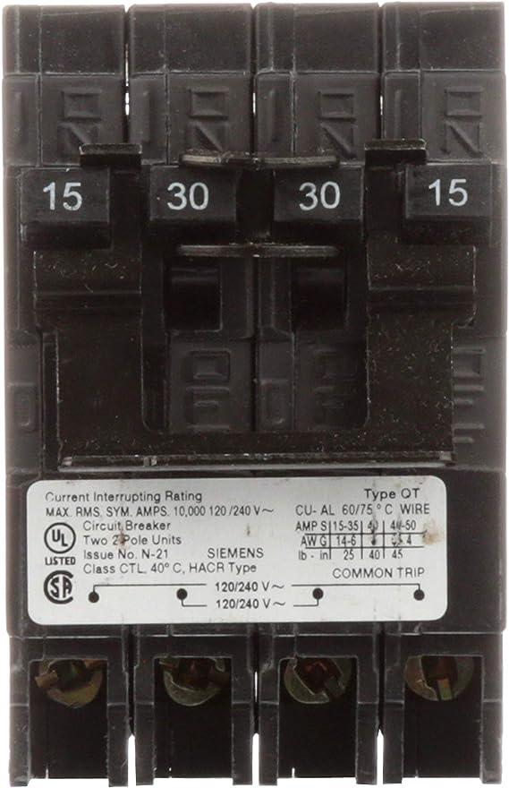 SIEMENS Q22050CT 20//50A 240V 4P 10K USED QUAD
