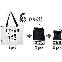 Bolsa ecológica de tela para supermercado reutilizable. Incluye bolsas para frutas y verduras. Ideal para tus compras de super