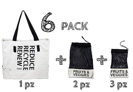 d1b14c469 Bolsa ecológica de tela para supermercado reutilizable. Incluye bolsas para  frutas y verduras. Ideal