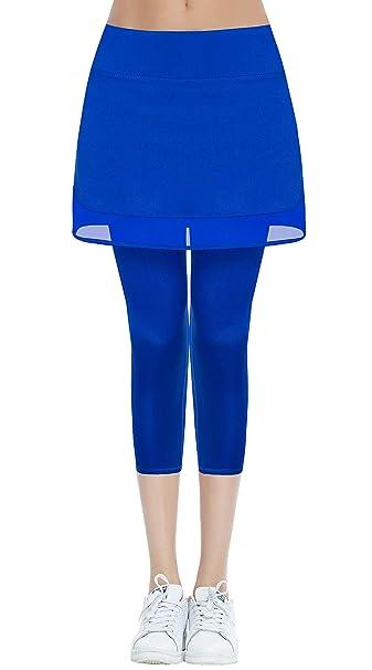 cd7d381812458 Amazon.com: HonourSex Womens Skirted Jogging Leggings with Pockets Capri  Skorts for Tennis Golf Sport Athletic Swim Workout Biker UPF 50+: Clothing