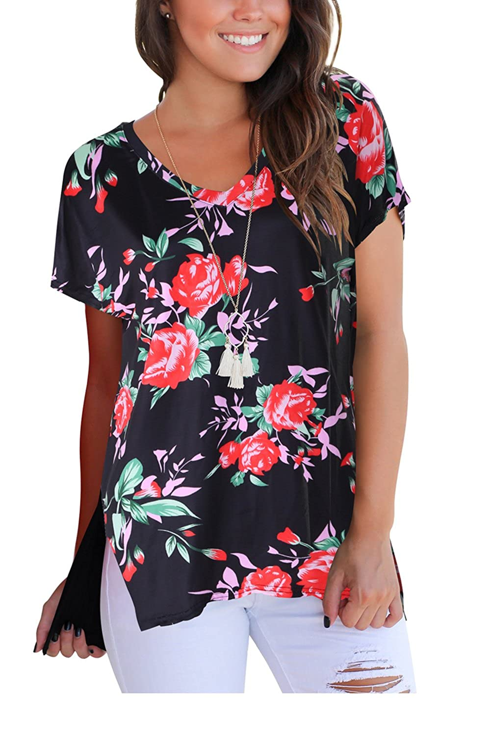 42bc095a91675 Casual and Chic Style,Short Sleeve,V Neck,Floral Print,Camo Print,Rose  Print,Stretch,Loose Fit,High Low Details.