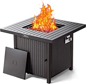 TACKLIFE 31.2 Inch Propane Fire Pit Table, 50000BTU Fire Table with Cover, Sturdy Steel and Iron Fence Surface, ETL Safety Certified, Companion for Your Garden