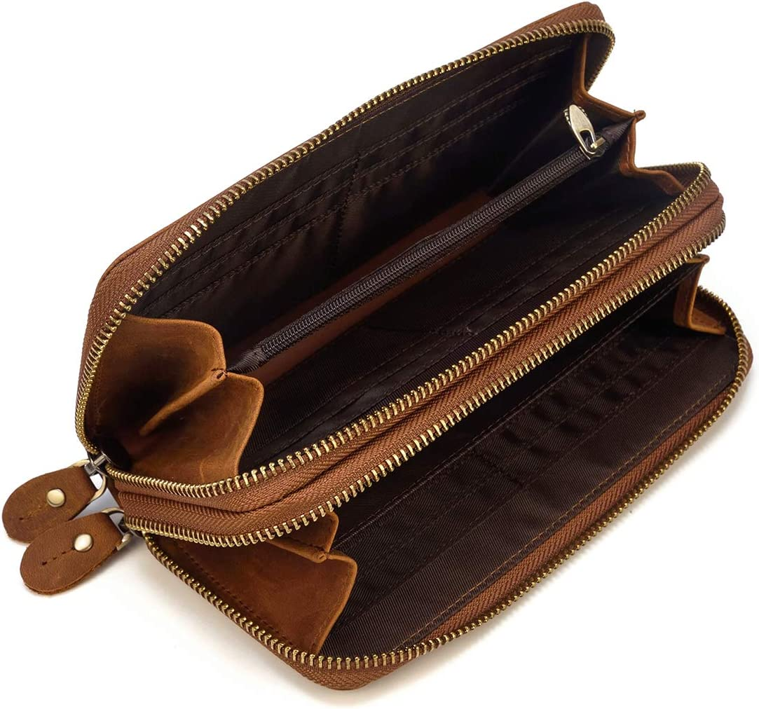 Sac /à Main en Cuir v/éritable pour Hommes Double Zipper Purse 4 Interlayer Zip-Around Wallet Marron