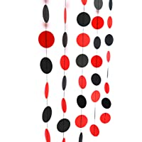 Red & Black 10ft dot Paper Garland, Birthday Party Decor, Wedding Shower Decor, Nursery Décor