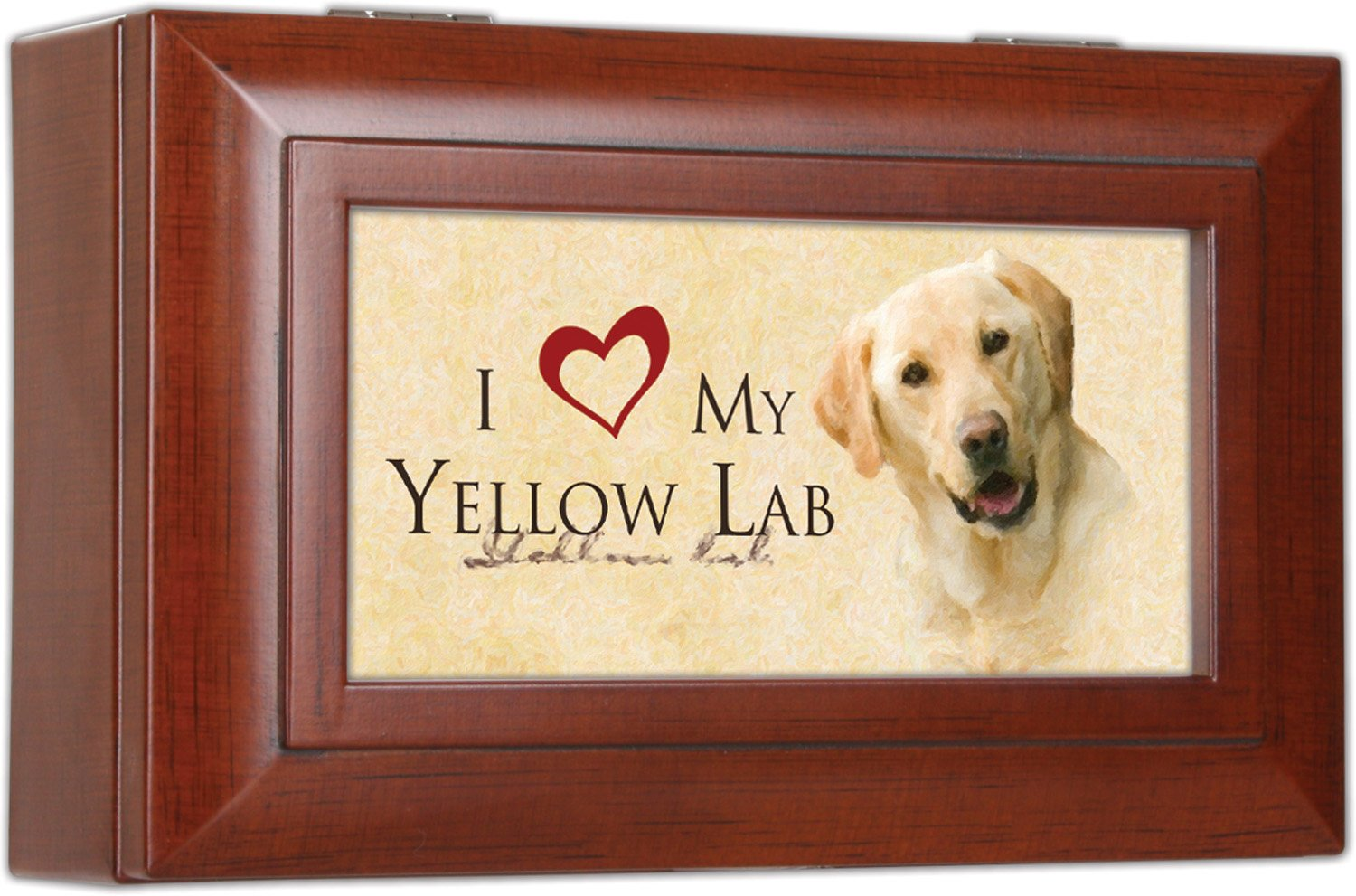 Love My Yellow Lab Cottage Garden Rich Woodgrain Finish Petite Jewelry Music Box - Plays Song Wonderful World