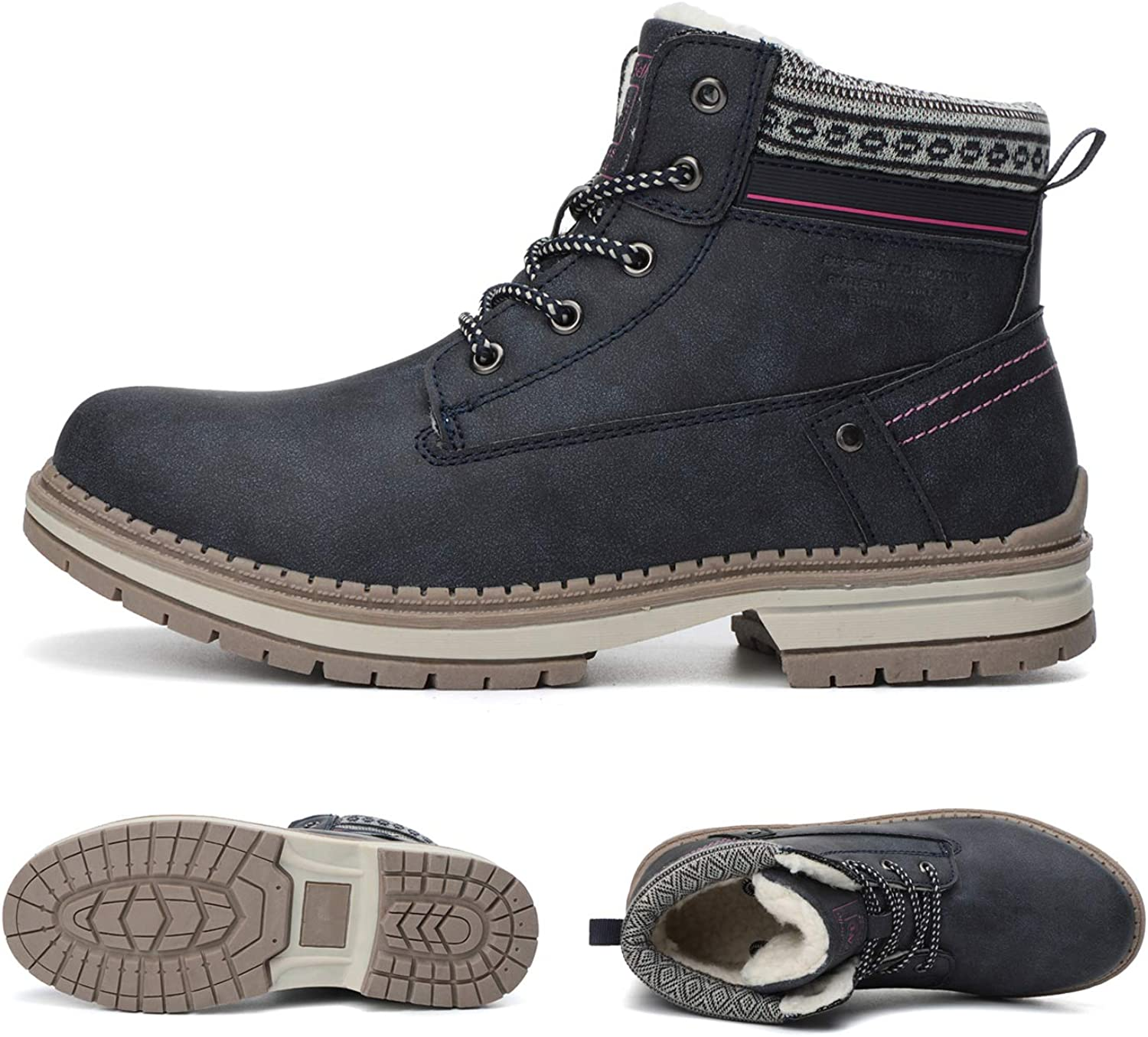 ARRIGO BELLO Snow Boots Womens Winter Boots Warm Ankle Fully Fur Lined Anti-Slip Leather Boots Work Walking Hiking Outdoor Urban 4UK-7UK