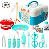 ThinkMax 15 Pcs Doctor Play Set, Plastic Dentist Kit, Medical Role Costume Play Kit Toys for Kids and Children (Blue)