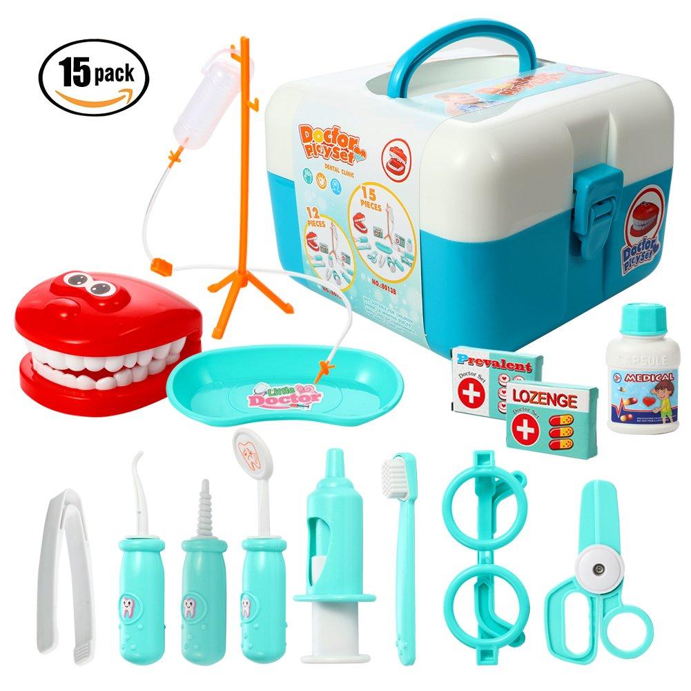 ThinkMax 15-teiliges Doktor-Spiel-Set, Plastikzahnarzt-Installationssatz, medizinische Rolle Kostüm-Spiel-Installationssatz-Spielwaren für Kinder und Kinder (Blau)