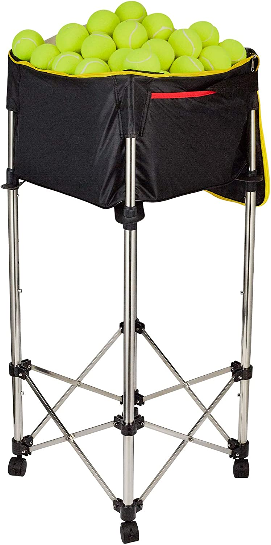 HIRAM Carrito de Pelotas de Tenis Capacidad del 160 Pelotas o 20 kg, Cesta Plegable para Pelotas de Tenis Marco de Acero Inoxidable con Ruedas Altura de 80-98 cm Tela Oxford Impermeable Desmontable