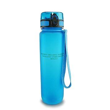 SMARDY Tritan Botella de Agua para Beber Azul - 1000ml - de plástico sin BPA - Tapa de un Clic - fácil de Abrir - ecológica - Reutilizable: Amazon.es: ...