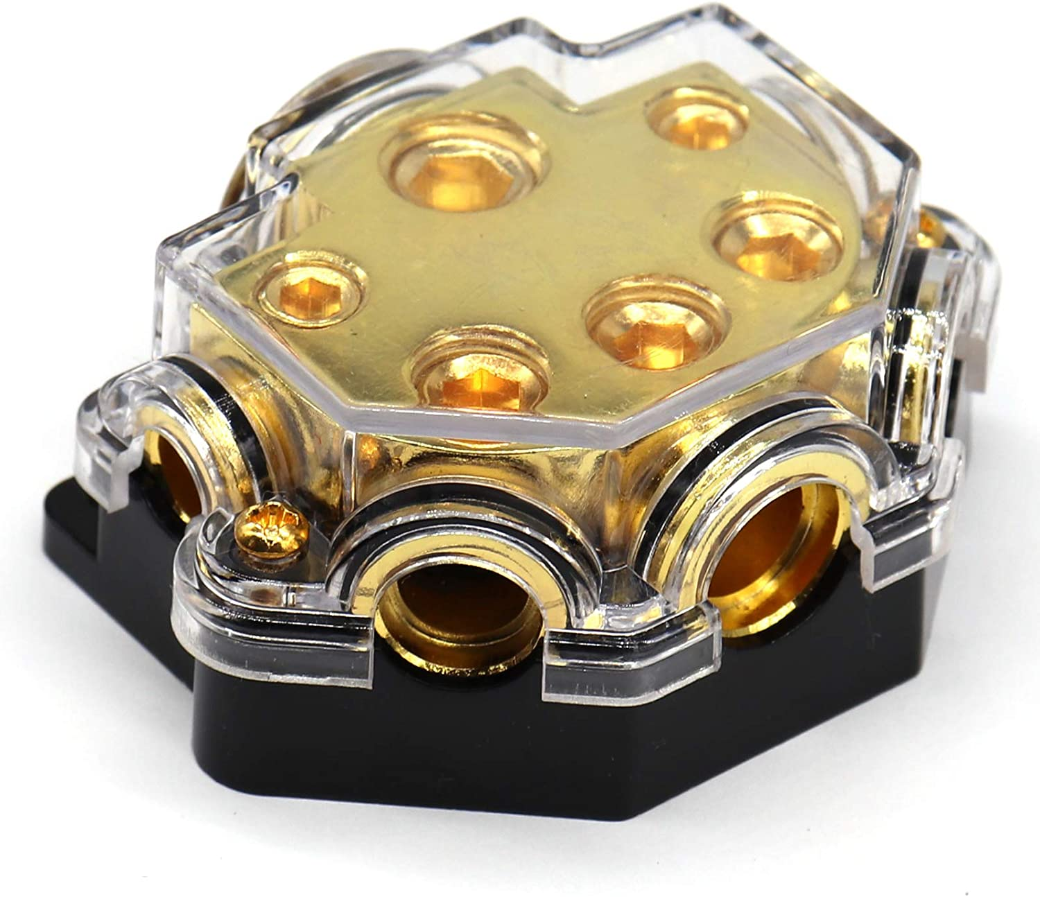 Audio Amplifier 1 in 5 Ways Out Car Audio Distributor Block Holder Fusebox for Car Audio Splitter Ground Distribution Connecting Block