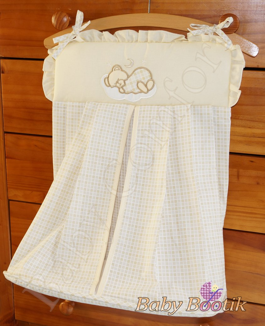 Nappy Stacker/Diaper Bag Match Baby Nursery COT or COT BED SLEEPY BEAR - EMBROIDERY CREAM Babycomfort