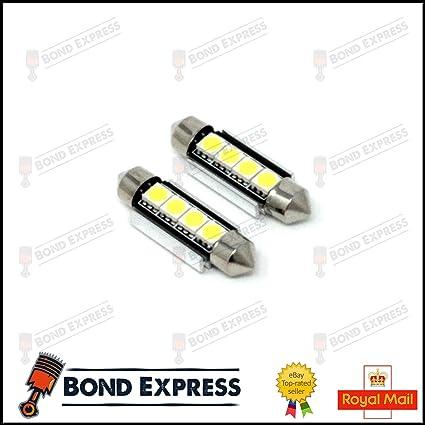 Bond-Express Luces LED para matrícula, Color Blanco Brillante