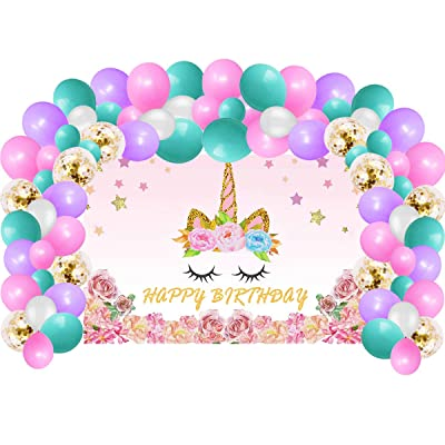 Unicorn Birthday Party Supplies Decorations For Girls, Rainbow Unicorn Party Backdrop And Balloons Kit For Photo Background, Photo Backdrop (No Banner Cake Topper, Favors And Flatware): Toys & Games