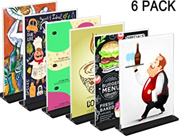 6 Pack Vertical , 8.5x11 WINKINE Desktop Acrylic Sign Holder with Base