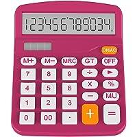Helect Taschenrechner Standard Tischrechner 12-stelliger Dual-Power (Solar und Batterie) (Pflaume)