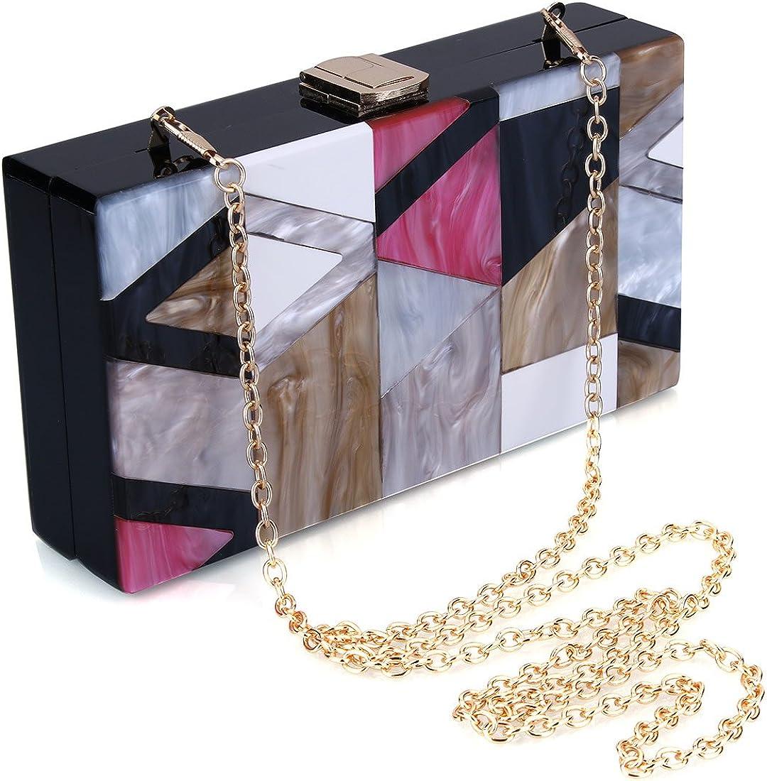 Puedo Women Evening Bag Acrylic Clutch Purse Perspex Box Colorful Geometric Handbags Shoulder Crossbody Bag