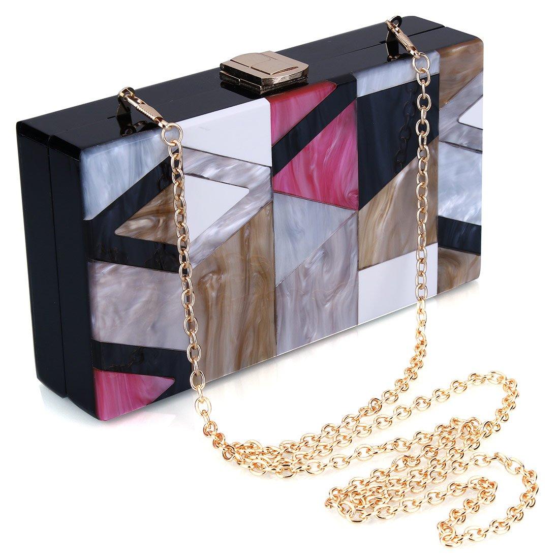 EROGE Acrylic Clutch Purse Perspex Box Colorful Geometric Design Handbags for Women (Geometric)