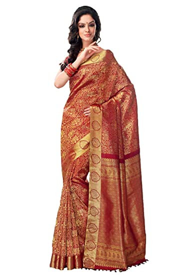 02808d15956ff Samyakk Kanchipuram Silk Zari Work Saree for Women  Blue   Amazon.in   Clothing   Accessories