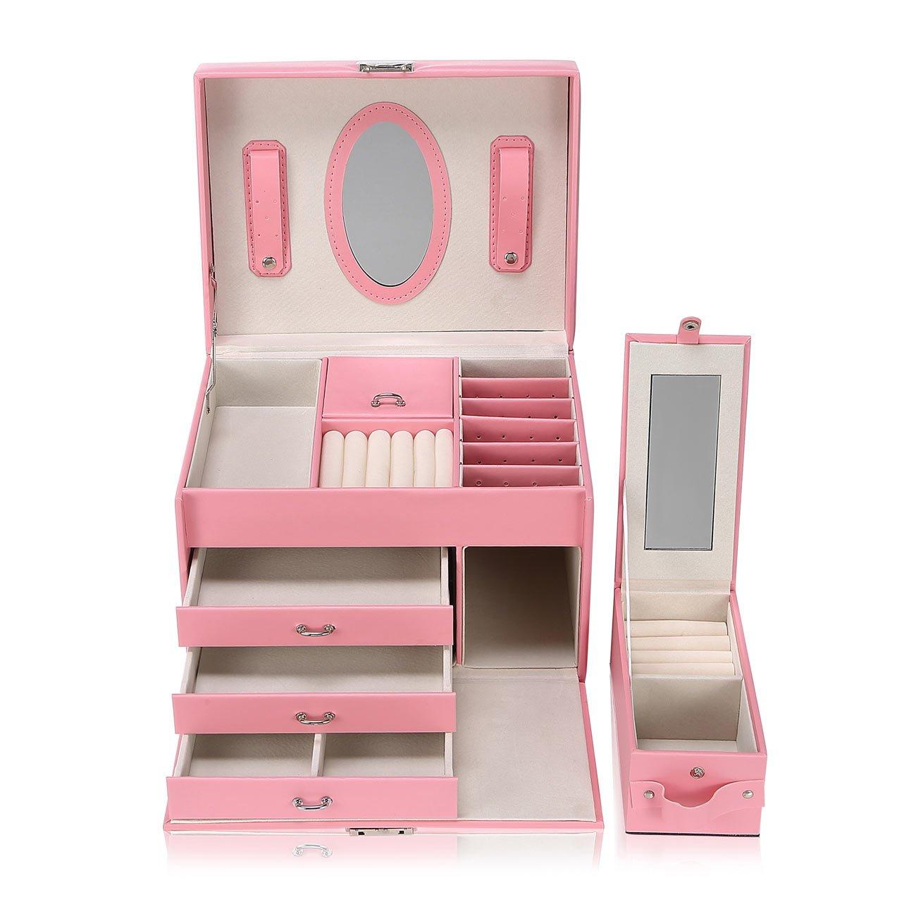 Makika Schmuckaufbewahrung Schmuckkästchen Schmuckkoffer Schmuckschatulle Schmuckbox Schmuckkasten Uhrenkoffer mit Spiegel Schubläden Extra Schmuckbox abschließbar - in Rosa