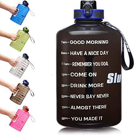 3.78Litre Motivational Large ETDW Gallon Water Bottle with Time Marker BPA Free