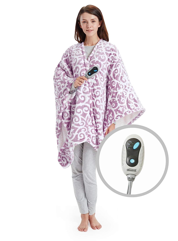 "Beautyrest Ultra Soft Sherpa Berber Fleece Electric Poncho Wrap Blanket Heated Throw with Auto Shutoff, 50"" W x 64"" L, Lavender"