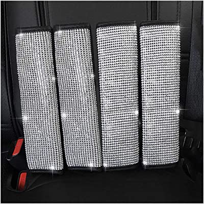U&M 4 Packs Bling Bling Seat Belt Shoulder Pads, Luster Crystal Car Seatbelt Covers Diamond Car Decor Accessories for Women: Automotive