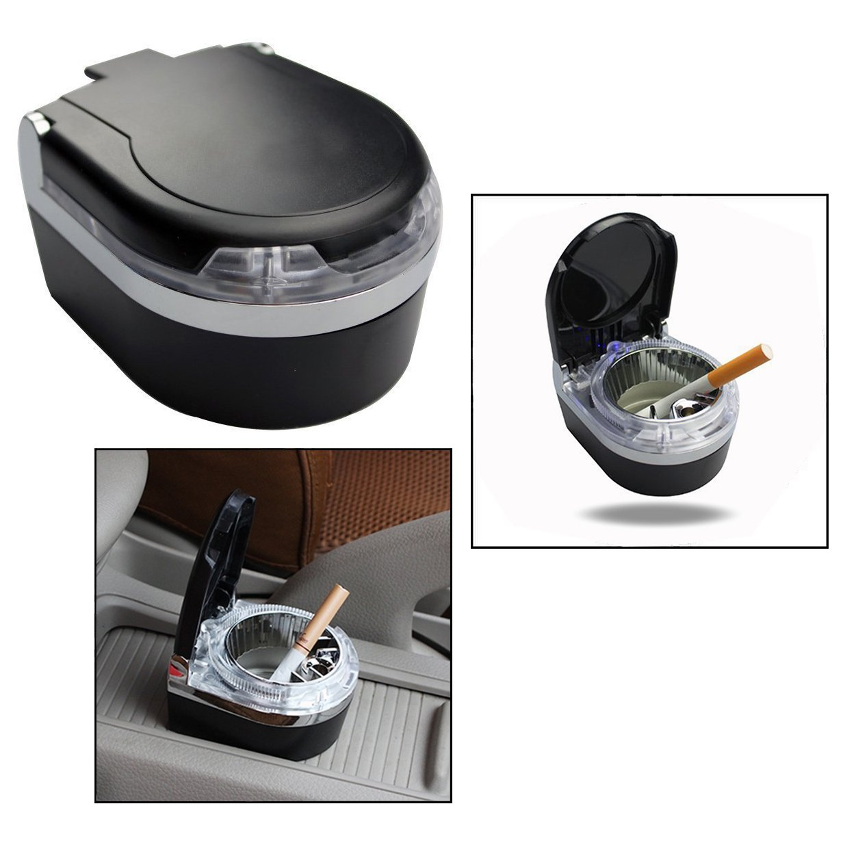 OFKP LED Portable Car Ashtray, Smokeless Car Ashtray for Car, Home, Office and Travel