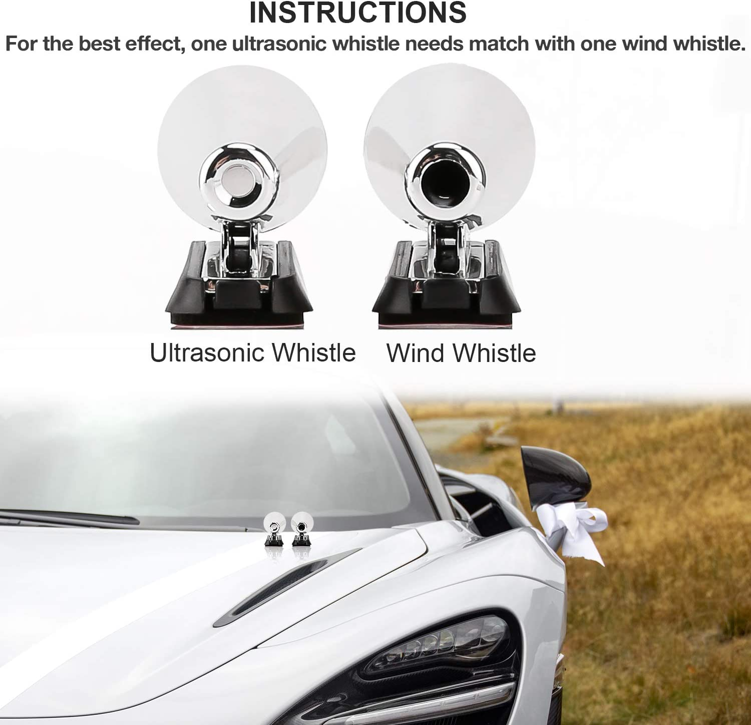 LUTER 4 PCS Deer Whistle Deer Warning Devices for Car Vehicles Motorcycles Save Wild Animals Avoid Deer//Mammal Collisions Car Safety