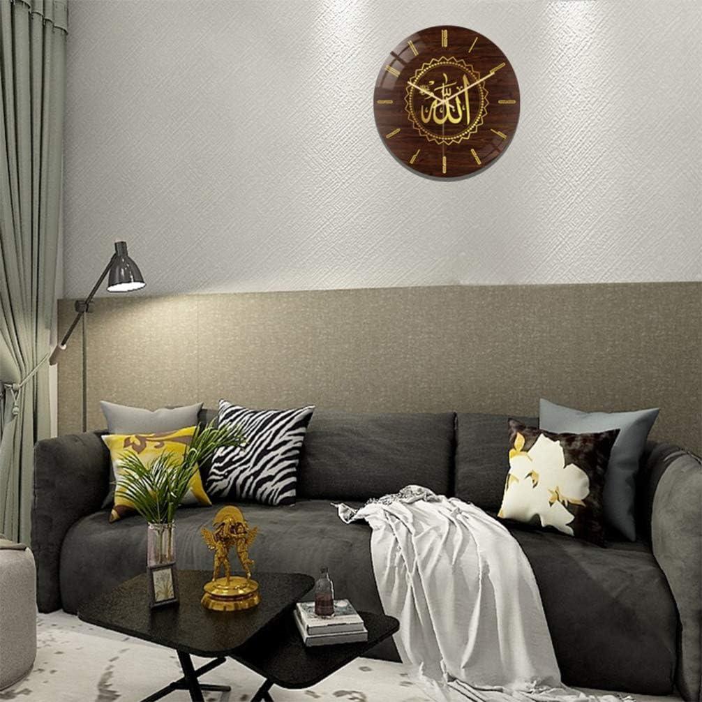 sans Batterie HEALLILY Horloge Murale Islamique Horloge Murale d/écor /à la Maison Allah d/écoration Murale avec ayran coran pour Style Salon Chambre 1