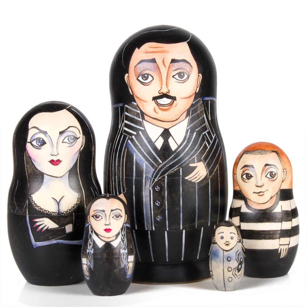 Books.And.More The Addams Family Nesting Doll Set of 5 pcs Matryoshka Dolls
