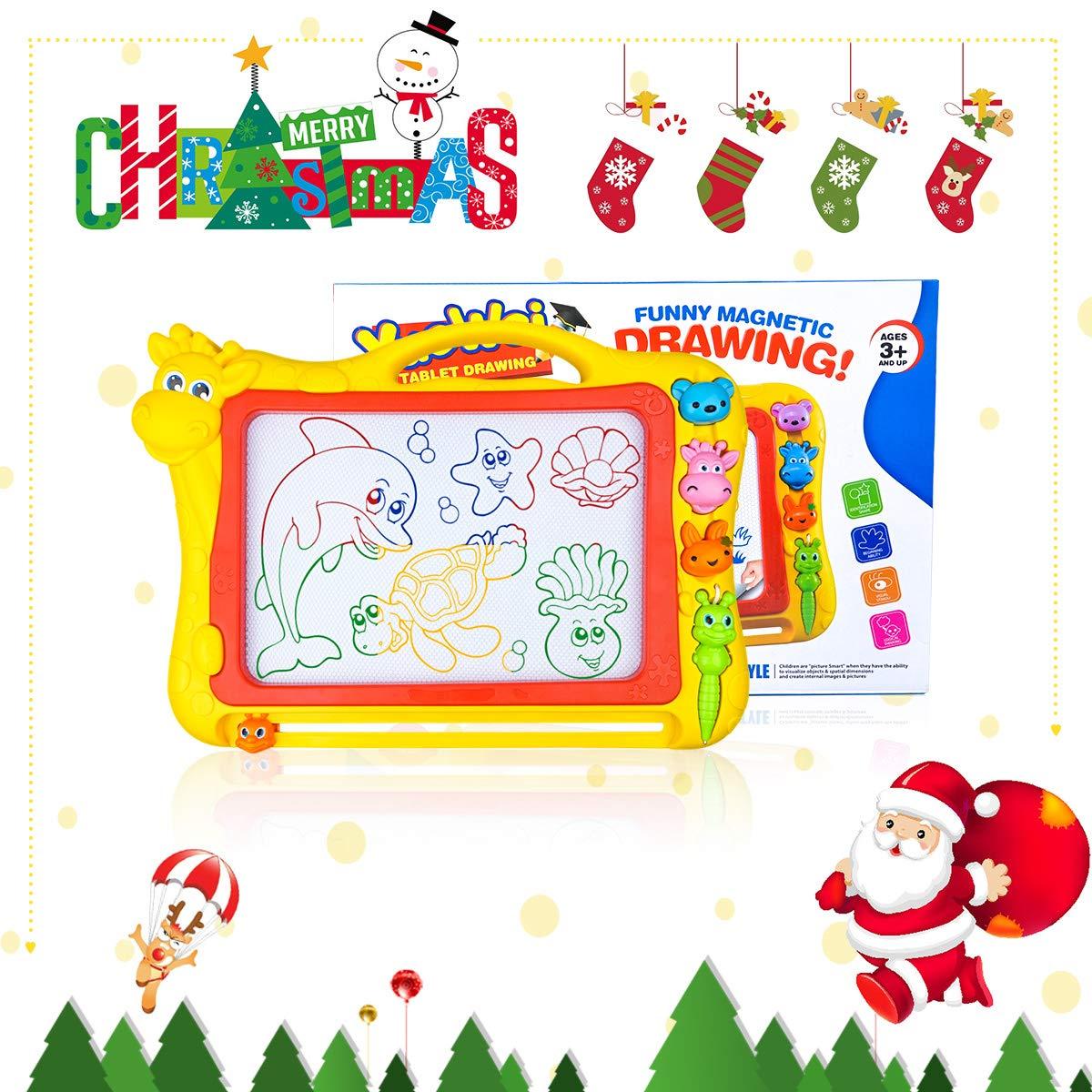 Merryxgift Magnetisches Zeichenbrett, Große (43 x 30 x 5 cm) Kinder Zaubertafel Doodle Board Pad Bunt Zeichenbrett mit 3 Magnetische Stempel für Kinder 3 4 5 6 7 Jahre Alt