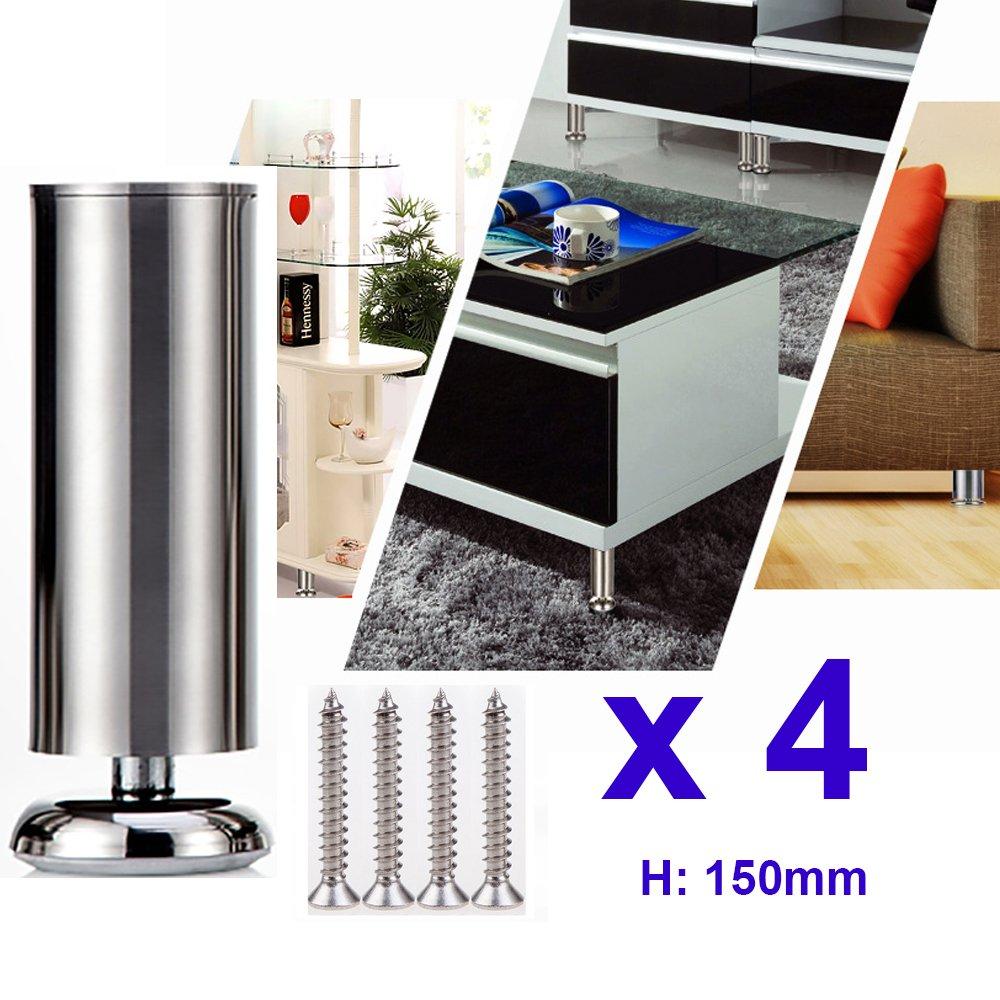 4 x 150mm (Height) Qrity Cabinet Stainless Steel Legs Kitchen Feet Worktop TV Desk Table Legs Furniture Sofa Legs - Rubber Mat - Safe & Silent - Dia 50mm