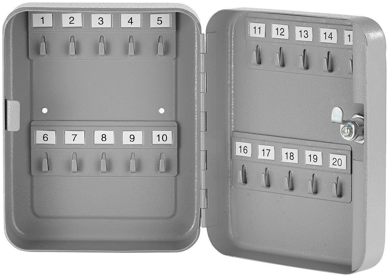 Stahl-Schl/üsselschrank f/ür 20 Schl/üssel mit 2 Sicherheitsschl/üsseln Schl/üsselkasten Metall Xcase Schl/üsselkasten