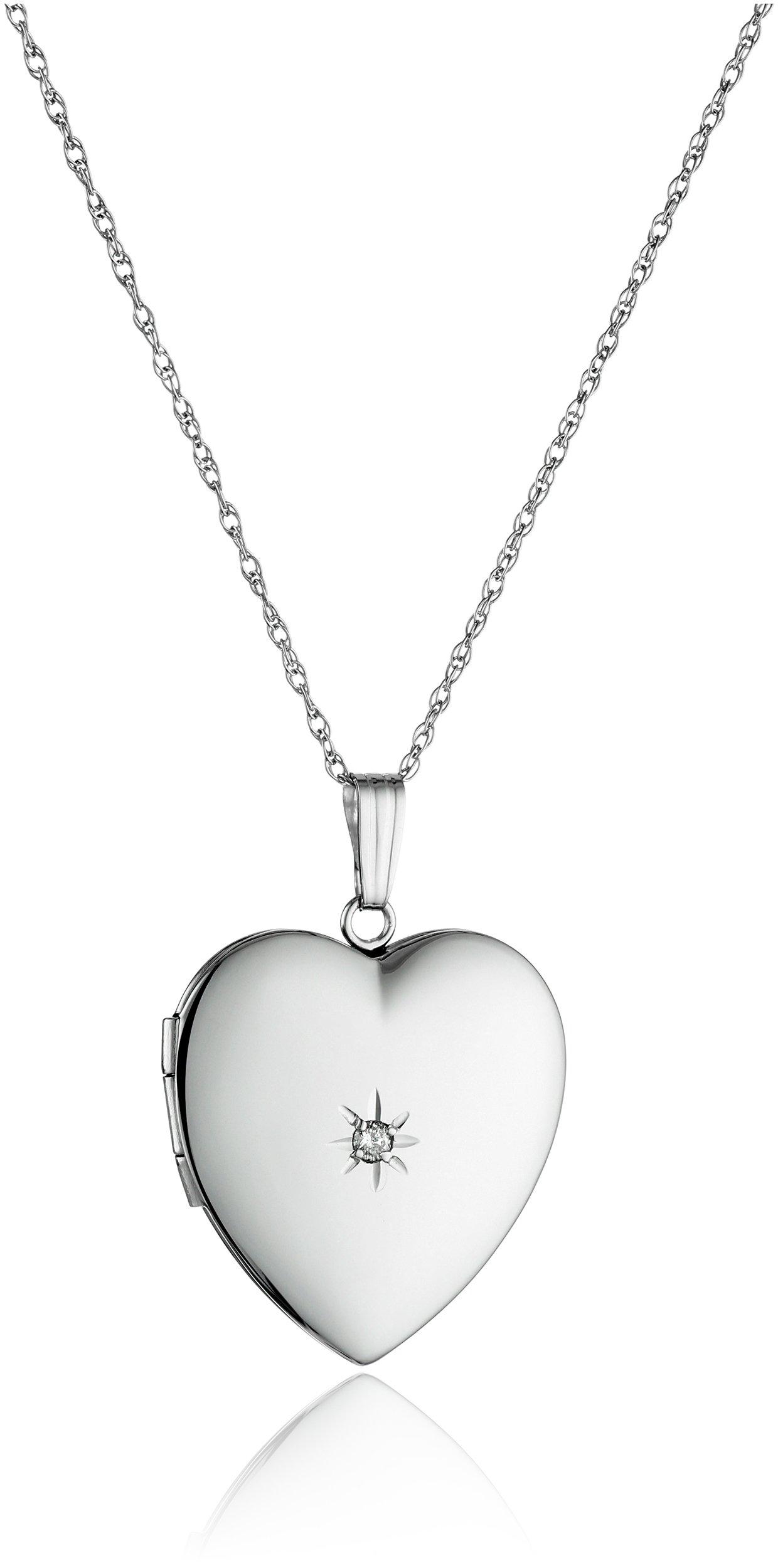 14k White Gold Diamond-Accent Heart Locket, 20''