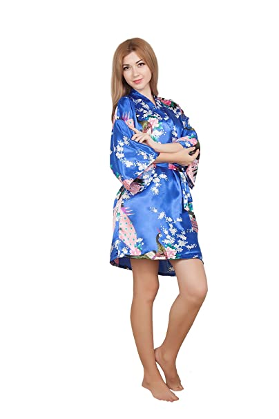 gusuqing Womens Printing Peacock Kimono Robe Short Sleeve Silk Bridal Robe 019799d4f