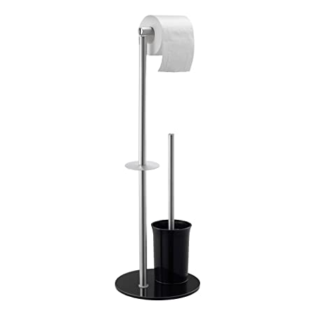 9d1998a94fea Toilet Roll Holder Stand with Toilet Brush by Mari Home, Free Standing  Stainless Steel Tissue