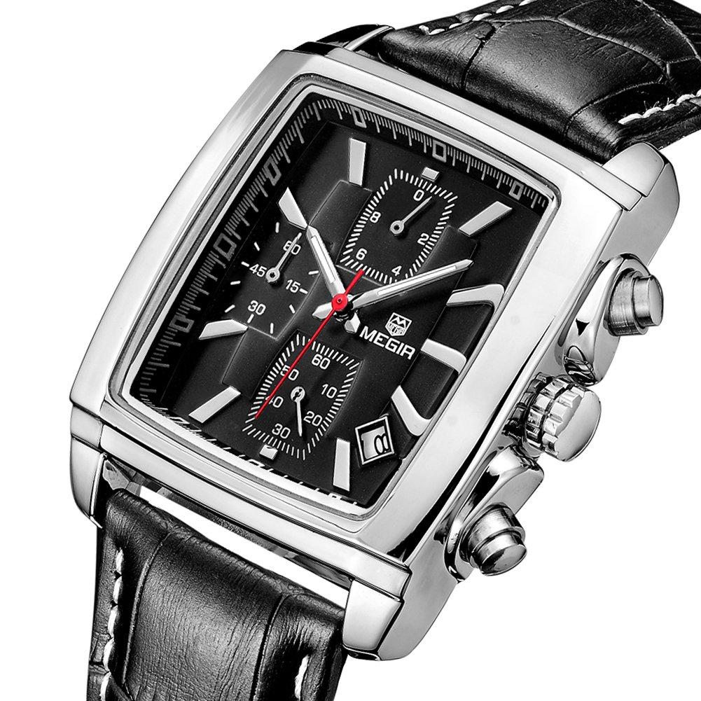 MEGIR Men Wrist Watch Quartz Chronograph Luxury Military Leather Strap Watches Gift for Male(Black)